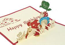 Happy Birthday - LadyBug on mushroom -  3D pop up greeting/gift card - 11x17cm