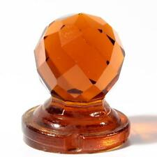 (1) 42mm vintage Czech hand faceted topaz glass ball chandelier finial prism