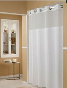 Marriott Hotel Hookless Shower Curtain Snap-In Removable Liner Waffle Pattern