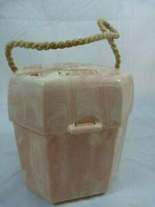 Vintage Hommer Mfg. Pink Swirl Plastic Sewing Box String Yarn Holder Rope Handle