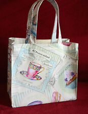 Reutilizable hecha a mano de algodón/Vinilo bolsa de almuerzo, Craft, Para Niños-PARIS Pasteles