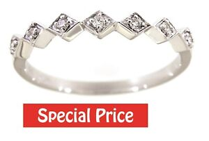 Real Diamond Designer Band 14K White Gold Solid 0.09 Carat Fine Jewelry For Her