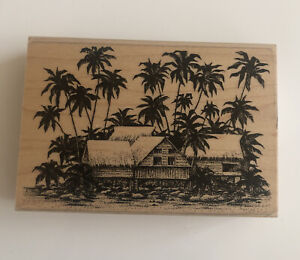 Stampscapes Thatched Huts Palm Trees Tropical Island Vintage Rubber Stamp 93-95