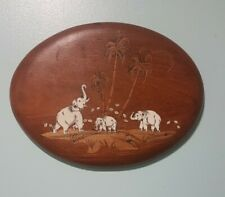 Wooden elephant family wall plaque, brown oval vintage