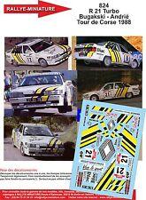 DÉCALS  1/43 réf 824 Renault 21 Turbo Bugakski - Andrié Tour de Corse 1988