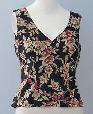 TRISTAN & ISEUT Size S Multi-Color Floral V-Neckline Side Sleeveless Blouse