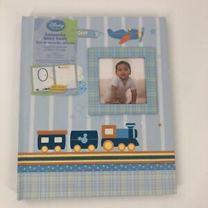 Disney Keepsake Baby Book Blue Album Train with Picture Frame Infant Memory