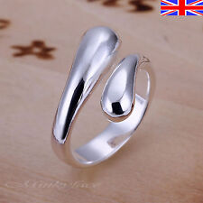 Ladies 925 Silver Adjustable Ring Teardrop Thumb Finger Band Ring Free Gift Bag