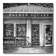"Bike At Palmer Square Book Store In Princeton Black And White 12""x12"" Art Print"