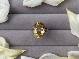 GENUINE ANTIQUE 9CT GOLD CITRINE RING
