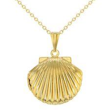 "Gold Tone Seashell Pendant Photo Locket Necklace Ladies Women 19"""