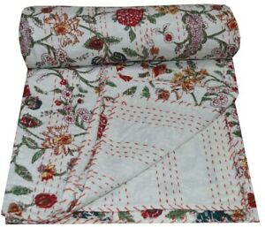 Hand Block Print Kantha Quilt Bedspread Bedding Throw Cotton Blanket Floral Twin