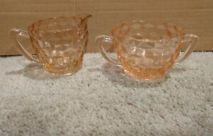 (2) Vintage Light Pink Creamer & Sugar/Small Pitcher Textured Glassware/Dishes