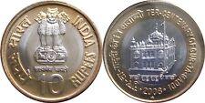 India 2008 Bimetallic BIMETAL Gur Ta Gaddi Coin 10 Rs Unc Hyd Mint NEW RARE