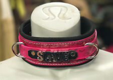 Custom Leather Collar choker restraint choose color Hand stamped