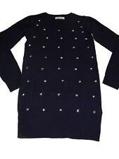 H & M toller Long Pullover / Srick Kleid Gr. 134 / 140 blau mit Pailetten !!