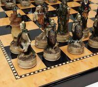 """SKELETON SLAYER GOTHIC SKULL CHESS SET W/ Gloss Walnut & Maple Finish Board 15"""""""