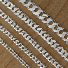 Solid 925 Sterling Silver Curb Chain Bracelet Italian Made Various Length