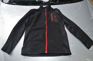Spyder Womens L 14/16 Jacket  Full Zip Mid Weight-Black - Red Spider/Zip