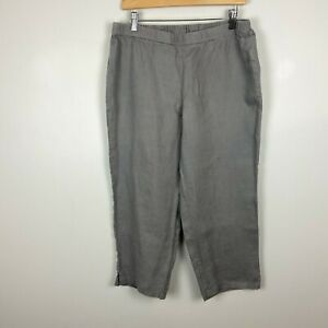Eileen Fisher for Garnet Hill Sleepwear Cropped Linen Pants Gray Women's Medium