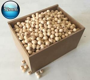 225 X 12mm Natural Wood Bead Unpainted Unfinished round Wooden Beads Spacer Ball