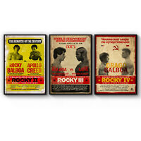 Set of 3 Rocky Movie Film Boxing Man Cave Art Poster Print - A3 A2 A1 A0 Framed