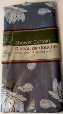 Refresh Flower Floral Print Bathroom Shower Curtain Gray Blue White Green 70x72