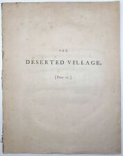 OLIVER GOLDSMITH The Deserted Village A Poem 9th Ed 1779 REMOVED POETRY