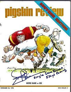 Joe Theismann Signed Auto Pigskin Review Magazine ND vs. USC 11/28/70 - SCH AUTH