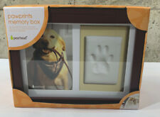 "Pearhead Pet Dog Cat Pawprints Memory Keepsake Photo Frame Wood Box 10"" x 8"" New"