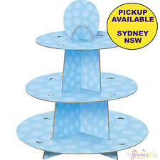 PARTY SUPPLIES 3 TIER CARDBOARD POLKA DOT BLUE CUPCAKE STAND TREAT HOLDER