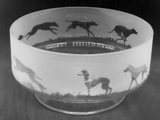 More details for greyhound frieze 24cm boxed crystal glass footed bowl