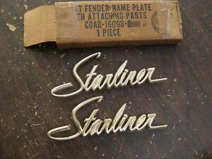 NOS OEM Ford 1960 Galaxie Starliner Front Fender Emblems Scripts Ornaments