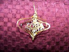 Vintage die cut 3D Santa's sleigh reindeer CHRISTmas ornament gold tone metal