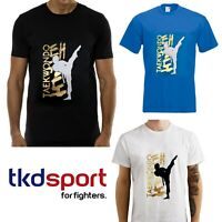 T-Shirt Taekwondo maglietta coreano TKD taekwondo bimbo blu bianca nera cotone