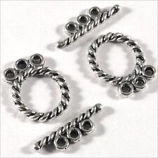 Lot de 4 Fermoirs Toggle 3 Rangs pour Colliers et Bracelets Multi-rangs