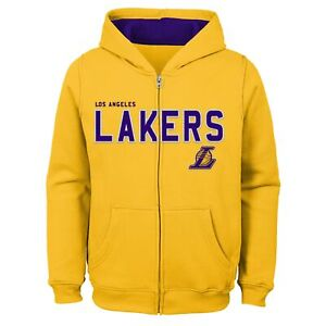 Outerstuff Los Angeles Lakers NBA Boys Youth (8-20) Stated Full Zip Hoodie, Gold