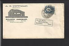 NEW YORK,NEW YORK BANKNOTE COVER, ADVT. A.G. NEWMAN, BUILDERS HARDWARE.
