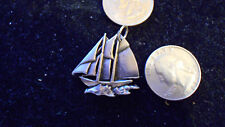 bling pewter beach sea nautical sailboat pendant charm chain hip hop necklace yo