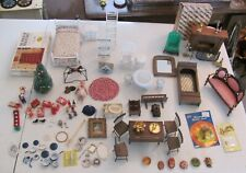 HUGE Lot Of Dollhouse Furniture & Accessories Christmas Fireplace Dining Bedroom