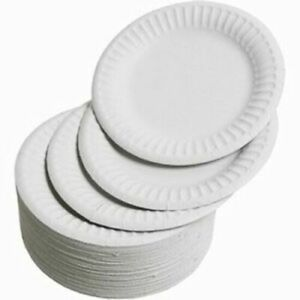 """White Disposable Paper Plates 6""""/7''/ 9"""" perfect for BBQ, parties, Outdoor Xmas"""