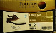 NEW IN BOX Men's 9 D M FootJoy Classics Tour Style 51858 White/Brown Golf Shoes