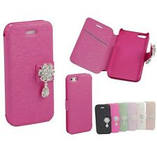 Diamond flip leather cover case for iphone 5 / Hot Pink