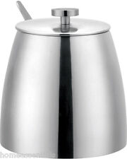 Grunwerg 10oz Sugar Bowl With Lid Single Walled Satin Stainless Steel Cafe Ole