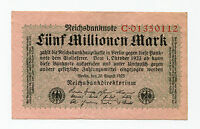 Old Germany 5 Million Mark Reichsbank Note German Inflation Money date 1923