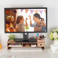 For iMac Laptop Computer Wood LCD Desktop PC Monitor Riser Stand Desk Organizer