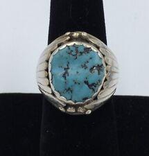 Vintage Navajo EJ David STERLING SILVER Turquoise Ring - Size 8.5