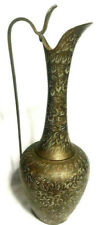 Brass floral etched water pitcher vessel made in India 12''tall