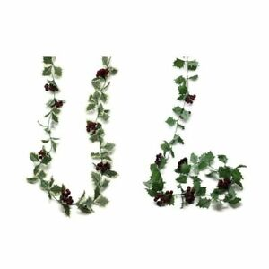 Artificial Holly & Glossy Red Berry Garland x 165cm Variegated Green or Green
