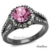 3.15 CT ROUND CUT PINK & CLEAR CZ BLACK STAINLESS STEEL ENGAGEMENT RING SZ 5-10